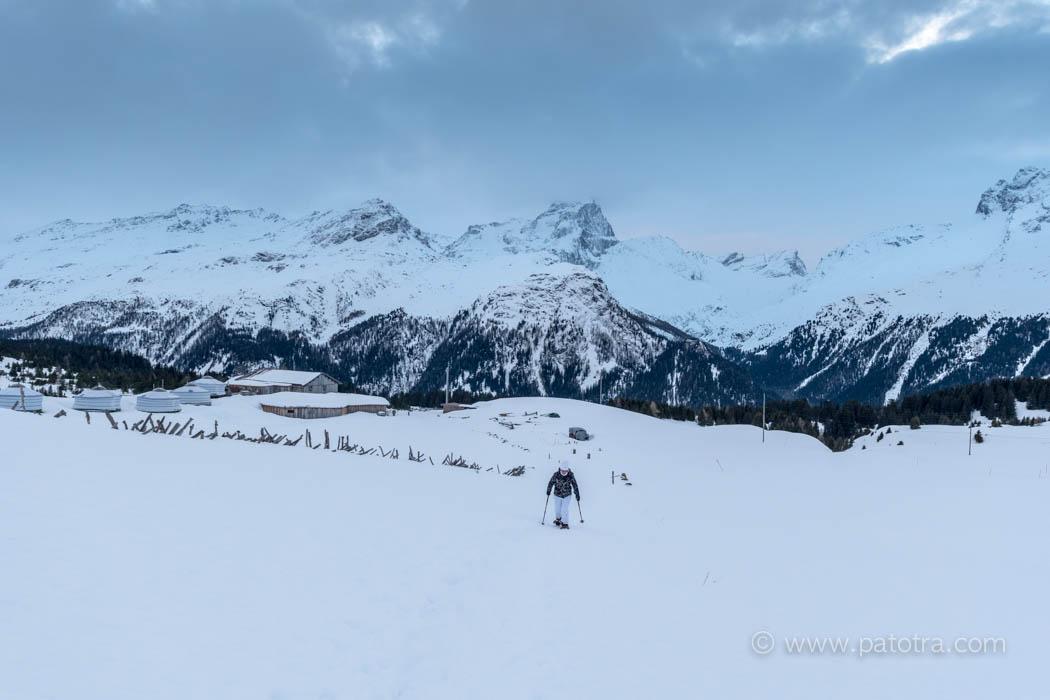 Schneeschuhwandern Schweiz Alp Flix