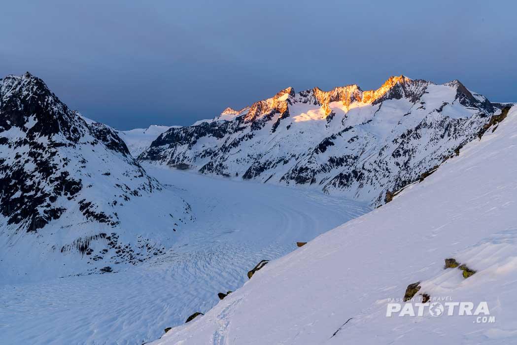 Abendsonne über dem Aletschgletscher